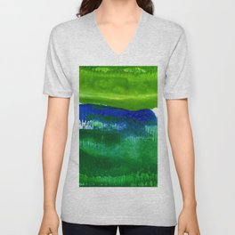 Encaustic Abstract No.27A by Kathy Morton Stanion Unisex V-Neck