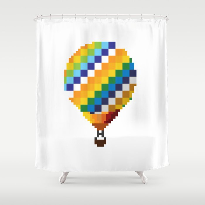 Pixel Bts Young Forever Hot Air Balloon Shower Curtain By Eggyeoxart