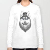 husky Long Sleeve T-shirts featuring bearded husky by NikKor