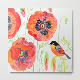 Red Bird with a Poppy Flower Metal Print
