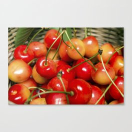 Cherries in a Basket Close Up Canvas Print