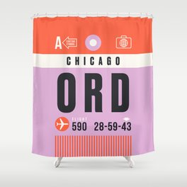 Luggage Tag A - ORD Chicago USA Shower Curtain