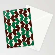 Retro heart pattern green & brown. Stationery Cards