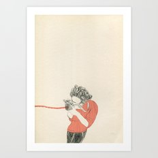 Shoot! in red Art Print