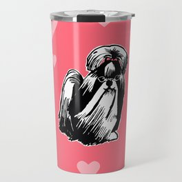 Longhaired Shih Tzu Illustration Travel Mug