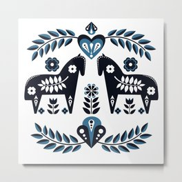 Scandinavian Folk Art Metal Print