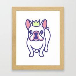 King Louie the Frenchie Cartoon Framed Art Print
