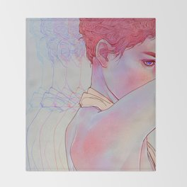 Untitled psychedelic girl drawing Throw Blanket