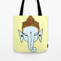 ganesha Tote Bags featuring Ganesha by RaJess