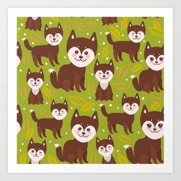 seamless pattern funny brown husky dog and leaves, Kawaii face with large eyes and pink cheeks Art Print