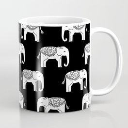 Black and white minimal linocut elephant pattern india pattern cute nursery Coffee Mug