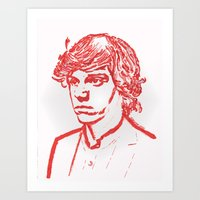 evan peters Art Prints featuring Evan Peters from American Horror Story in Red by JennFolds5 * Jennifer Delamar-Goss