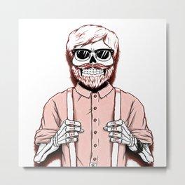 hipster skeleton man Metal Print