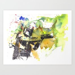 Boba Fett Firing off Green Color Art Print