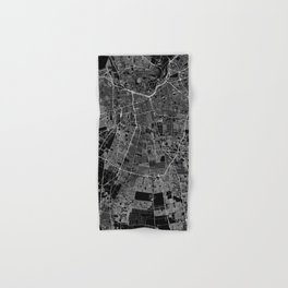 Santiago Black Map Hand & Bath Towel