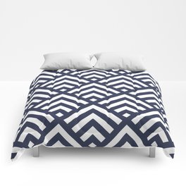 Navy Blue geometric art deco diamond pattern Comforters