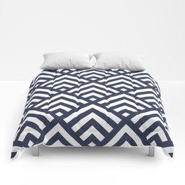 Navy Blue geometric art deco diamond pattern Comforters