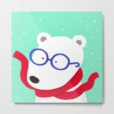 Hipster Polar Bear Metal Print