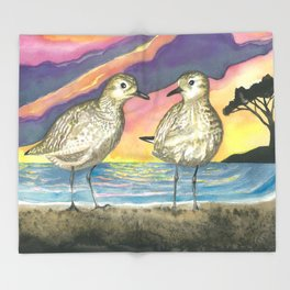 Pacific Golden Plovers Throw Blanket