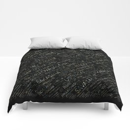 Yoga Asanas / Poses Sanskrit Word Art Comforters