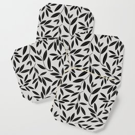 Black and White Plant Leaves Pattern Coaster