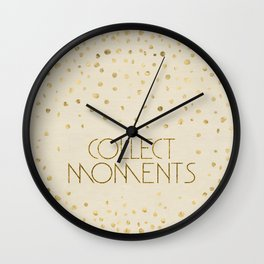 Text Art COLLECT MOMENTS | glittering gold Wall Clock