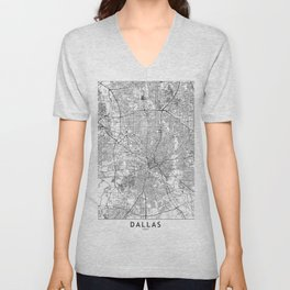 Dallas White Map Unisex V-Neck