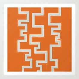 Meandering Lines - Orange Art Print