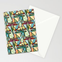 Dragonflies on Stained Glass Stationery Cards