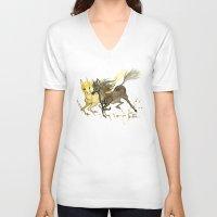horses V-neck T-shirts featuring Horses by JoJo Seames