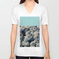 succulents V-neck T-shirts featuring Succulents by Leah Flores