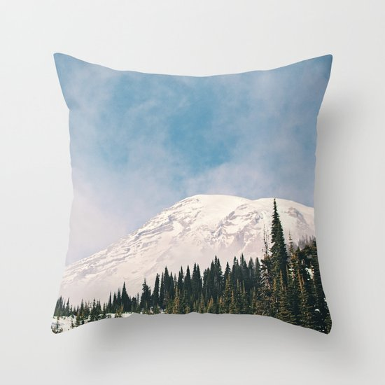 Mount Rainier in the Winter Throw Pillow