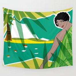 ANACAPRI: Art Deco Lady in Green and Yellow Wall Tapestry