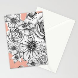 B&W Flowers Coral Stationery Cards