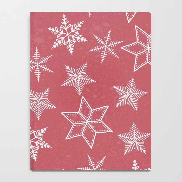 Snowflakes On Pastel Red Background Notebook