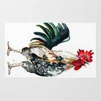 rooster Area & Throw Rugs featuring Rooster by Bridget Davidson
