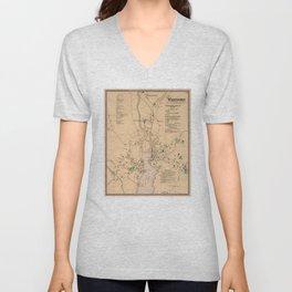 Vintage Map of Westport CT (1867) Unisex V-Neck