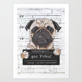 Cartoon Pug Wanted Art Print