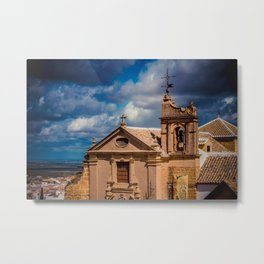 Old Spanish church on the hill. Numerous cottony clouds cover the sky. Metal Print