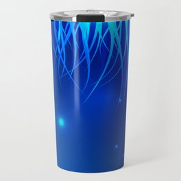 Frosty and icy lines on a blue background. Travel Mug