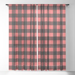 Plaid (Black & Red Pattern) Sheer Curtain