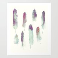 feathers Art Prints featuring Feathers // Birds of Prey by Amy Hamilton