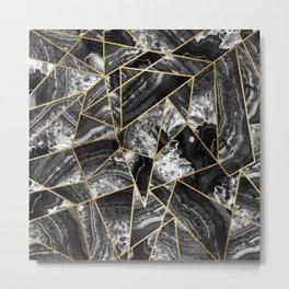 Black White Agate Black Gold Geometric Triangles Metal Print