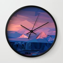 Low Poly Mountain Sunset Wall Clock