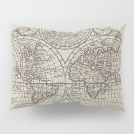 Vintage Map of The World (1701) Pillow Sham