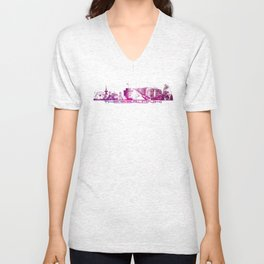 Thessaloniki skyline city purple Unisex V-Neck