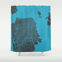 san francisco map Shower Curtains featuring San Francisco by Map Map Maps