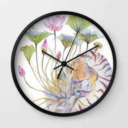 Nautilus and Lotus Surreal Watercolor Creature Wall Clock
