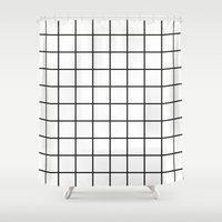 grid Shower Curtains featuring GRID by Anna Lindner