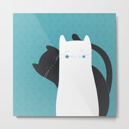Black White Cats Metal Print